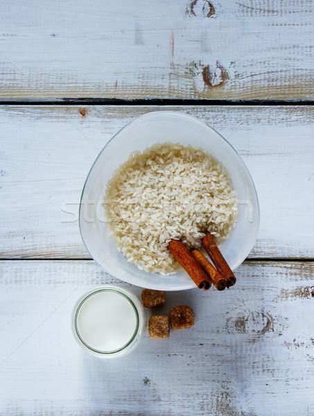 Malzemeler sütlaç üst görmek mutfak masası Stok fotoğraf © YuliyaGontar