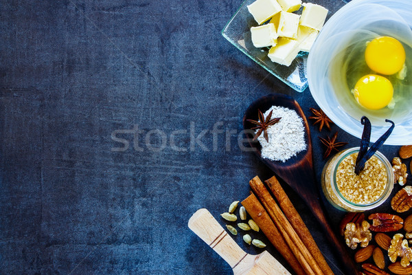 Boulangerie recette vintage ingrédients oeufs Photo stock © YuliyaGontar