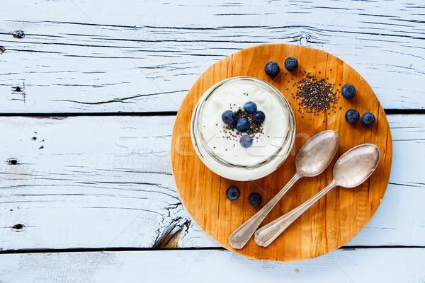 Mason jar of yogurt Stock photo © YuliyaGontar