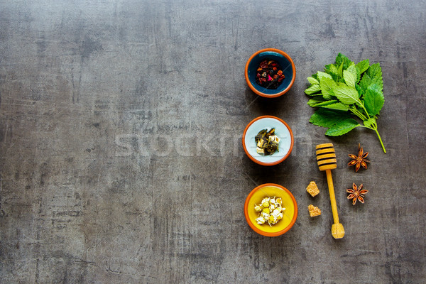 чай набор темно разнообразие Vintage Сток-фото © YuliyaGontar