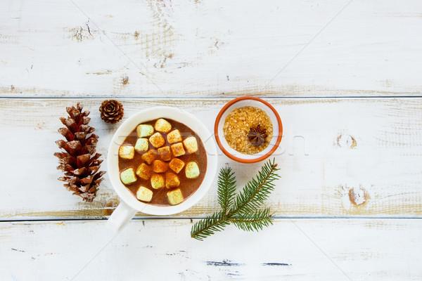 Stok fotoğraf: Kış · sıcak · çikolata · taze · Noel · yılbaşı · kupa