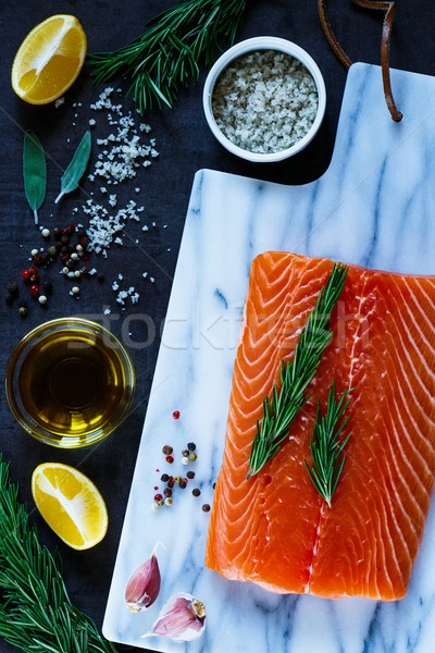 Foto stock: Frescos · crudo · salmón · filete