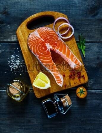 Salmon steak with ingredients Stock photo © YuliyaGontar