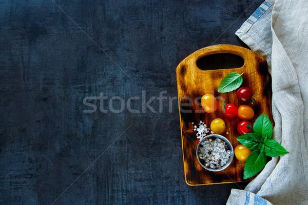 Színes koktélparadicsom különböző bazsalikom fűszer kicsi Stock fotó © YuliyaGontar