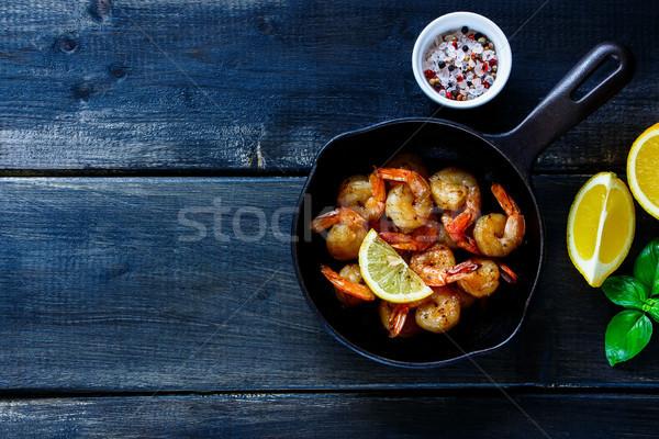 Pan grill cytryny plastry Zdjęcia stock © YuliyaGontar