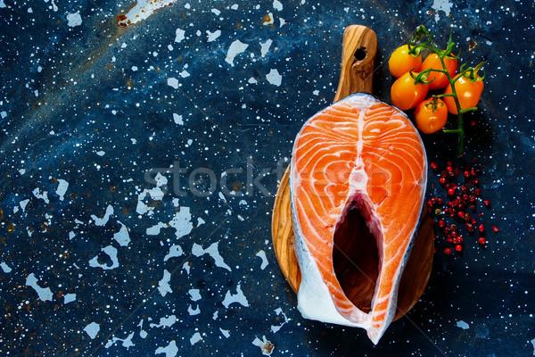 Surowy łososia stek górę widoku świeże Zdjęcia stock © YuliyaGontar