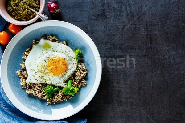 Stok fotoğraf: Brokoli · yumurta · çanak · lezzetli · vejetaryen · kahvaltı