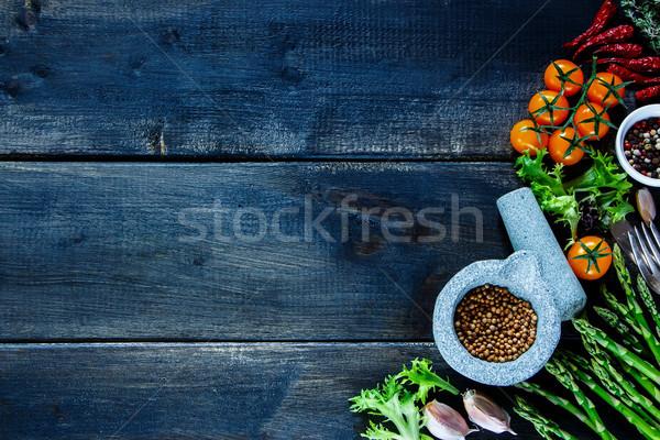 ストックフォト: 素朴な · 表 · カラフル · スパイス · 野菜