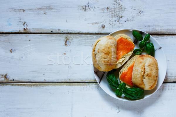 サンドイッチ サンドイッチ クリーム チーズ 素朴な ストックフォト © YuliyaGontar