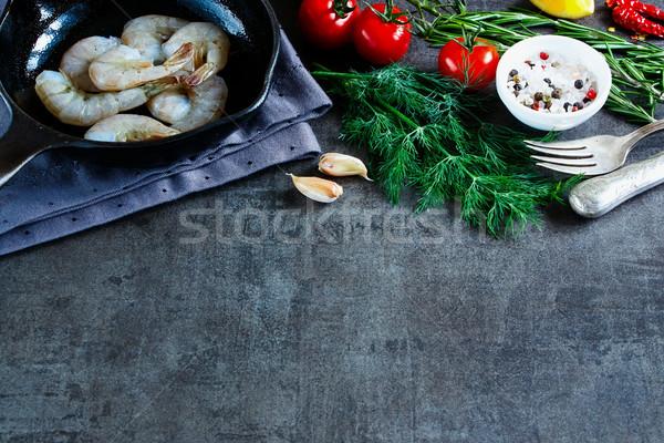 свежие морепродуктов темно сырой Ингредиенты Сток-фото © YuliyaGontar