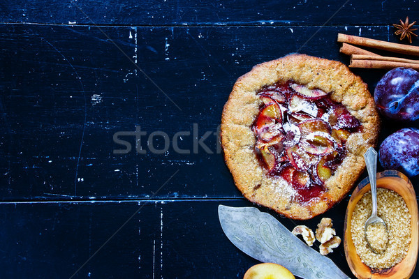 Wholegrain plum pie Stock photo © YuliyaGontar