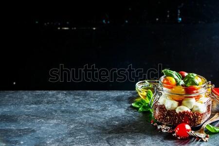 салат Капрезе банку зрелый помидоры черри мини Сток-фото © YuliyaGontar
