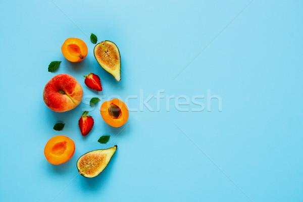 Taze yaz meyve pastel açık mavi üst Stok fotoğraf © YuliyaGontar