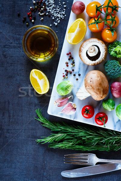 Különböző fűszer zöldségek felső kilátás színes Stock fotó © YuliyaGontar