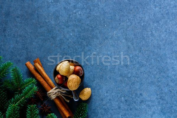 Hagyományos karácsony fűszer ünnep fahéj diók Stock fotó © YuliyaGontar