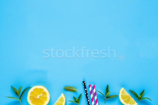 Ingredientes verano cóctel creativa disposición limón Foto stock © YuliyaGontar