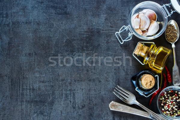 Сток-фото: приготовления · Ингредиенты · свежие · чеснока · банку · оливкового · масла