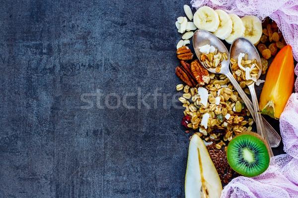 Stok fotoğraf: Sağlıklı · kahvaltı · malzemeler · renkli · karanlık