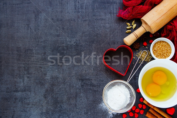 Baking ingredients background Stock photo © YuliyaGontar