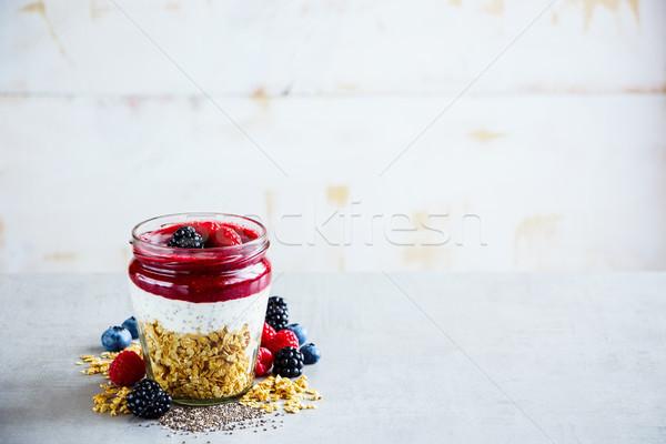 Egészséges detoxikáló reggeli görög joghurt granola Stock fotó © YuliyaGontar