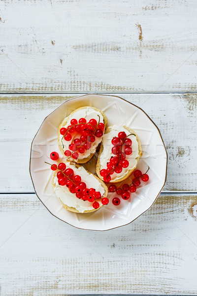 Crostinis with red currants Stock photo © YuliyaGontar