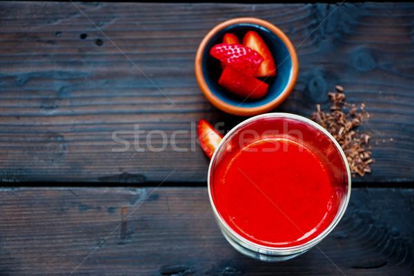 Finom piros smoothie eper csokoládé kőműves Stock fotó © YuliyaGontar