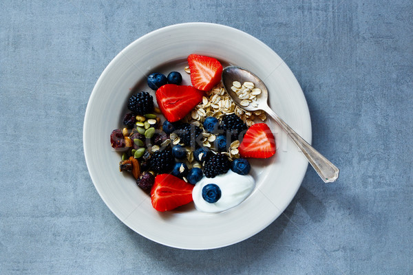 Haver bessen yoghurt zaden ontbijt Stockfoto © YuliyaGontar
