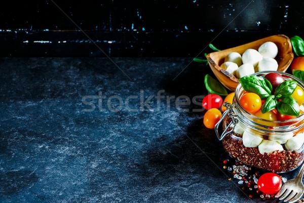 Caprese salatası sağlıklı ev yapımı kavanoz olgun kiraz domates Stok fotoğraf © YuliyaGontar