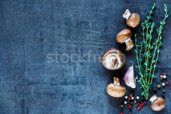 材料 ヴィンテージ 新鮮な キノコ 暗い 精進料理 ストックフォト © YuliyaGontar
