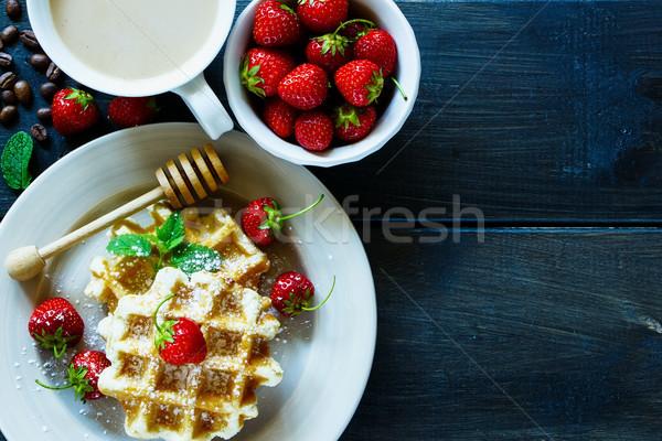 Belgian waffles with strawberries Stock photo © YuliyaGontar