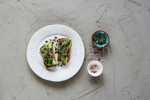 Avocado toasts on plate Stock photo © YuliyaGontar
