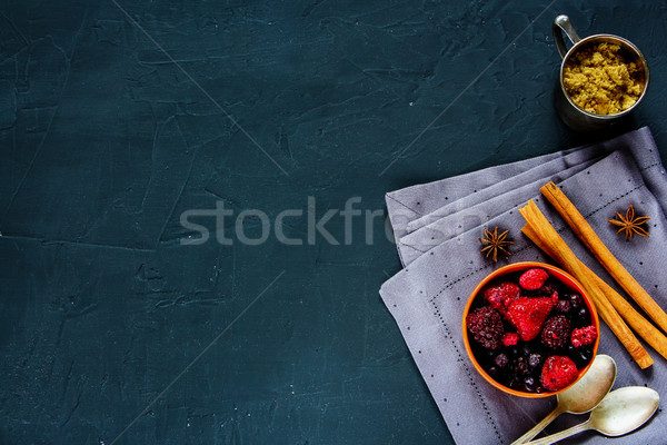 Frozen berries with brown sugar Stock photo © YuliyaGontar