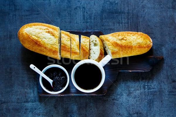 おいしい 朝食 セット ブルーベリー ジャム ストックフォト © YuliyaGontar