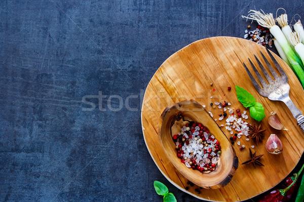Hozzávalók főzés rusztikus vágódeszka különböző egészséges Stock fotó © YuliyaGontar