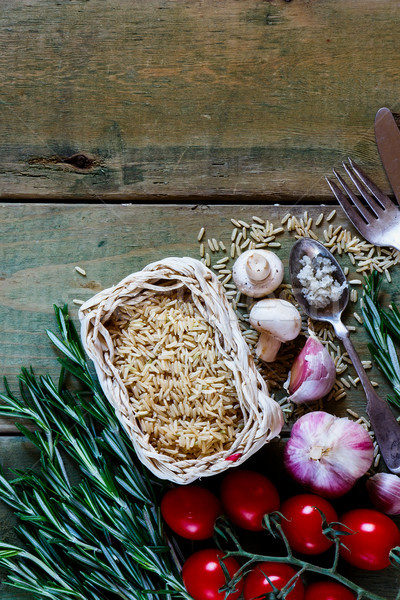 Stok fotoğraf: Kahverengi · pirinç · üst · görmek · taze · sebze