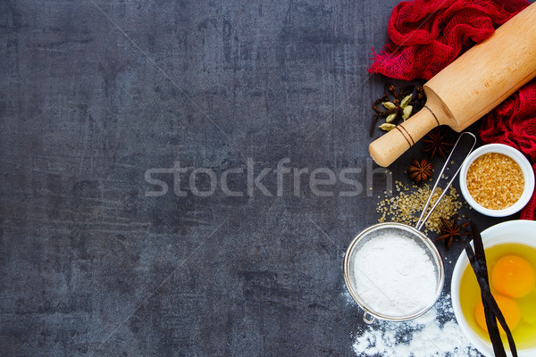 Hozzávalók főzés torta sütés tojások barnacukor Stock fotó © YuliyaGontar