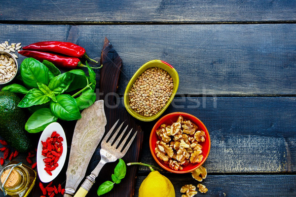 Clean eating cooking ingredients Stock photo © YuliyaGontar