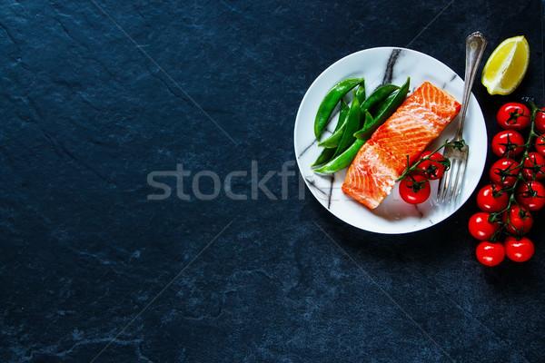 Roasted salmon fillet Stock photo © YuliyaGontar
