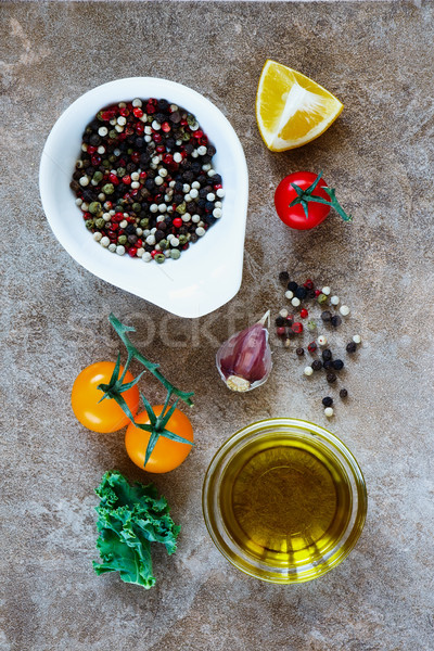Taze üzüm domates sarımsak baharatlar zeytinyağı Stok fotoğraf © YuliyaGontar