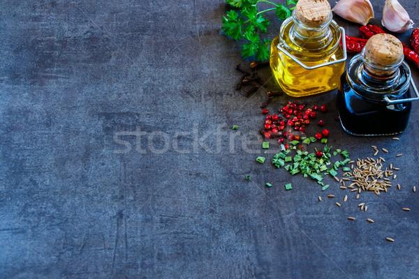 приготовления Ингредиенты свежие чеснока оливкового масла бальзамического уксуса Сток-фото © YuliyaGontar