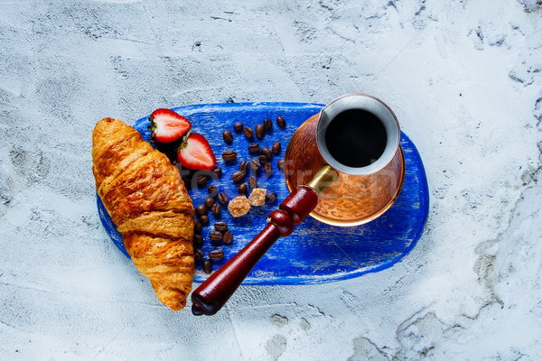 Ontbijt ingesteld Blauw vintage koffie Stockfoto © YuliyaGontar