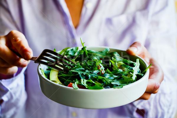Stockfoto: Voorjaar · plantaardige · salade · eten · groene · avocado