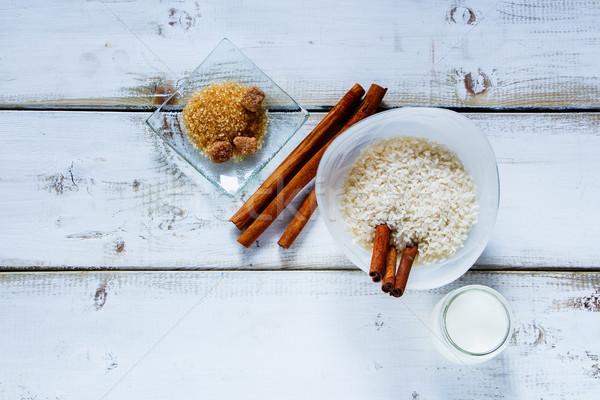 Malzemeler sütlaç mutfak masası çanak beyaz Stok fotoğraf © YuliyaGontar