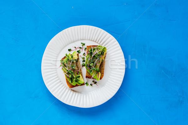 アボカド プレート 健康 完全菜食主義者の 朝食 ランチ ストックフォト © YuliyaGontar