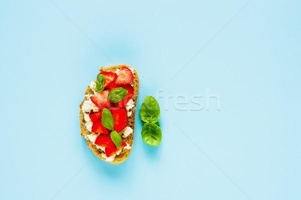 Saludable desayuno todo grano brindis queso Foto stock © YuliyaGontar