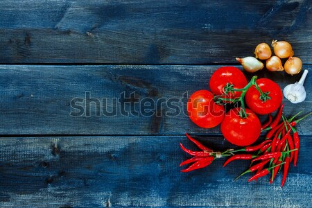 Ingrediënten vers kruiden specerijen oude houten Stockfoto © YuliyaGontar