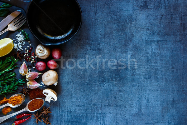 Baharatlar sebze parlak taze sebze karanlık bağbozumu Stok fotoğraf © YuliyaGontar