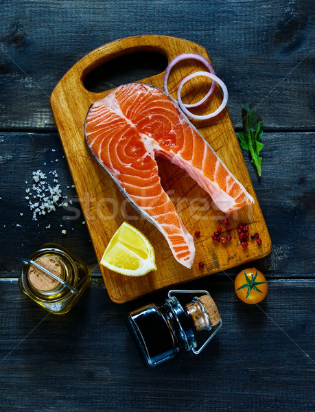 Salmon steak with seasoning Stock photo © YuliyaGontar
