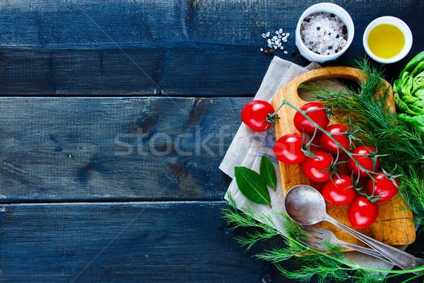 ストックフォト: クリーン · 食品 · 暗い · 木製のテーブル · 季節の · 野菜