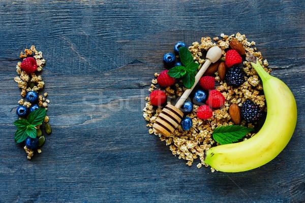 Stockfoto: Ingrediënten · gezonde · ontbijt · bessen · noten
